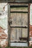 Old weathered farm shed door stock image