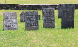 Old weathered headstones, Revolutionary War Cemetery, Salem, New York. Well kept grounds highlighting old military headstones of Revolutionary War heroes, Old stock image