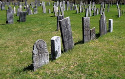 Old weathered headstones, Revolutionary War Cemetery, Salem, New York. Well kept grounds highlighting old military headstones of Revolutionary War heroes, Old stock images