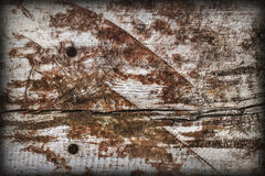 Old Weathered Knotted Wood Rough Battered Grooved Vignetted Grunge Texture Royalty Free Stock Image
