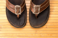Old Weathered Leather Flip Flops Stock Images