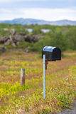 Old Weathered Mailbox at Rural Roadside in Iceland Stock Photo
