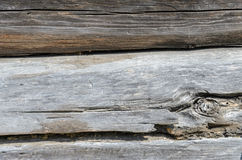 Old Weathered Natural Log Cabin Aged Wall Facade Fragment Texture. Rustic Log Wall Horizontal Grey Gray Background. Fragment Of Unpainted Brown Wooden Debarked royalty free stock photography