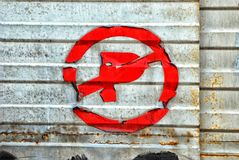 Old, weathered no parking sign Royalty Free Stock Image