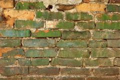 Old Weathered Painted Green Brick Wall Texture Royalty Free Stock Photos