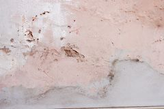 Old weathered painted wall background texture. White dirty peeled plaster wall with falling off flakes of paint. stock photos