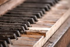 Old and Weathered Piano Keys royalty free stock photo