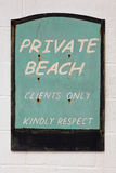 Old weathered Private beach sign Stock Images