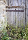 Stable door. Old weathered rusty hinged stable door entrance blocked with weeds Royalty Free Stock Photography