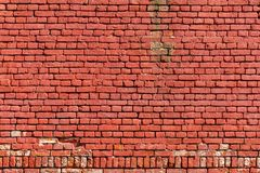 Old weathered wall of red brick. Abstract background royalty free stock images