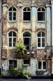 Old weathered wall with vintage windows, Belgium Royalty Free Stock Image