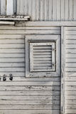 Old Weathered White Wooden Summer Leisure Raft Hut On Sava River. Photograph of an white painted, old wooden hut, with wall and window details, leisure summer Stock Image