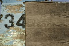 Old weathered wood background with number 34 stock photos