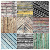 Old weathered wood collage. Square photo collage with nine old weathered wood pictures Stock Photography