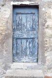Old weathered wooden door. View of old weathered wooden door stock photo