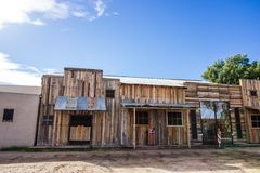 Old Weathered Wooden Facade On Buildings. Revealing A Western Look stock image
