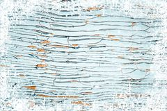 Old weathered wooden plank painted in blue color, wooden texture wall with snow effect christmas background stock image