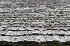 Old and weathered wooden roof shingle Royalty Free Stock Image