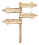 Old weathered wooden roud sign Stock Photo