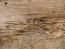 Old weathered and worn wooden planks. A close-up of red-faded woodgrain on an old barn with knots and cracks Stock Photo