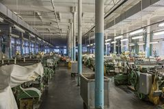 Old weaving factory workshop Royalty Free Stock Photo
