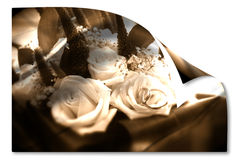 Old wedding card bridal bouquet and partnerships Royalty Free Stock Images
