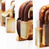 Old wedding padlocks hanging on the metal fence. Aged lover locks hanging on the fence, selective focus Royalty Free Stock Photography