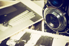 Old wedding photos and old camera Royalty Free Stock Photography