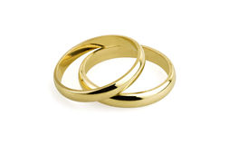 Old wedding rings (clipping path ) Royalty Free Stock Images