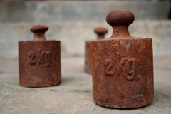 Old weight. 3 x 2 kilo royalty free stock photography
