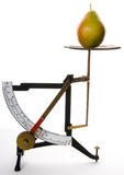 Old Weight Scale with a Pear. And White Background Stock Image