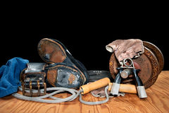 Old weightlifting equipment Stock Photo