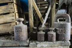 Old weights for scales Stock Photo