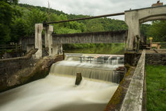 Old Weir at the Altmühl River in Bavaria Stock Photo