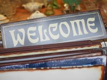 Old welcome sign Stock Image
