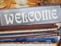 Old welcome sign Stock Images