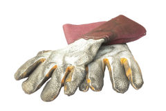 Old weld gloves Royalty Free Stock Photo