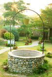 Old Well with a bucket in garden Royalty Free Stock Image