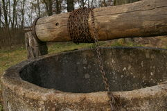 Old well, bucket and string. Royalty Free Stock Images