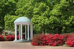 The Old Well at Chapel Hill. The Old Well at UNC Chapel Hill during the springtime with azaleas blooming royalty free stock photo