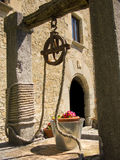 Old well with flowers in the bucket Stock Image