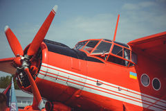 Old well-groomed biplane of Soviet-made stock image
