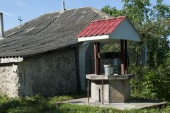 Old well moldova. Moldavian external well, in countryside Moldova near city Fetesti royalty free stock images