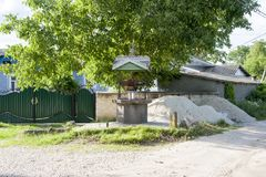 Old well moldova. Moldavian external well, in countryside Moldova near city Fetesti royalty free stock photos