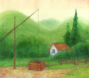Old well near a lonely cabin in the mountains stock illustration