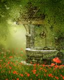Old well on a poppy meadow. Old vintage well on a green meadow with poppy flowers