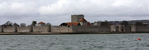 The old well preserved Portchester castle within portsmouth harb Stock Photography