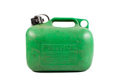 Old well Used Green Petrol Gasoline Can Isolated. On White Background stock photos