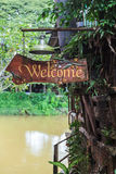 The old wellcome sign of the house. In Thailand Royalty Free Stock Images