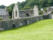 Old Welsh stone Abby. 13 century Abby ruins Royalty Free Stock Photos
